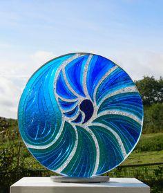 Blue Nautilus - Fused glass
