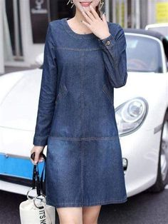 Shift Dress Outfit, Dress Outfits, Shift Dresses, Denim Dress Outfit Summer, Outfit Work, Simple Dresses, Casual Dresses, Denim Dresses, Denim Fashion