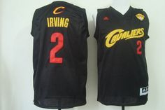 Men's Cleveland Cavaliers #2 Kyrie Irving 2016 The NBA Finals Patch Black With Red  Jersey
