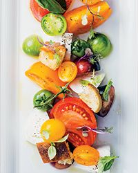 Tomato-and-Mozzarella Salad with Orange Oil - This update of a classic caprese salad combines heirloom tomatoes, several types of basil, mozzarella and orange-scented olive oil. http://www.foodandwine.com/recipes/tomato-and-mozzarella-salad-orange-oil?xid=NL_DAILY080115TomatoMozzarellaSalad