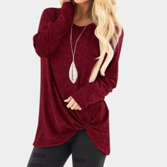 """""""Get the look that everyone wants this season in this round neck long sleeve blouse. """" #roundnecklongsleeveblouse #longsleevetops Long Sleeve Tee Shirts, Long Sleeve Tops, Shirt Blouses, Tops Manga Larga, Winter T Shirts, Blouses For Women, T Shirts For Women, Jumper, Sweater Shirt"""