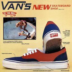 Vans (1985). Promocionados en sus origenes como zapatos para montar patineta, los Vans ganaron rapidamente popularidad por su diseño sencillo y llamativos colores. En versiones con y sin agujetas, de lona o piel, son vendidos hasta la fecha.