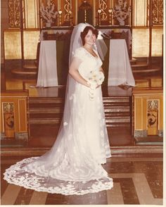In 1976, my wedding dress cost 3 times my monthly salary. Luckily my grandmother help pay for my dress because she was one of the first brides to travel to Boston and have her dress made there.Her dress was donated to the Chicago Historical Society. I feel sad that my daughter can not continue the tradition. Full alencon lace & perals V Neck, A-Line w cathedral length veil.