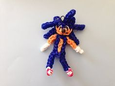 Rainbow Loom SONIC the HEDGEHOG. Designed and loomed by Cheryl Spinelli at Looming WithCheryl. Click photo for YouTube tutorial. 04/11/14.