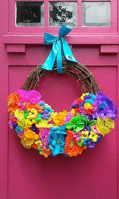 Mexican Paper Flower Wreath by Bonnieharmsdesigns on Etsy, $99.00