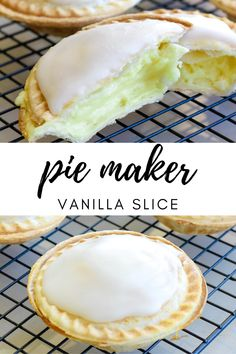 Vanilla slice, one of the most classic desserts around, has had a makeover. All you need is a pie maker, and you can whip up a batch of these delicious individual sized pie maker vanilla slice. No Cook Desserts, Sweet Desserts, Just Desserts, Sweet Recipes, Dessert Recipes, Mini Pie Recipes, Tea Recipes, Sweet Pie, Sweet Tarts