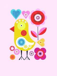Spring Chicken on Pink Canvas Art