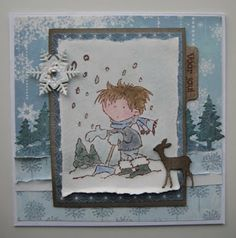 Card made by Boukje with the Marianne Design Don & Daisy Too Much Snow stamp (DDS3337)