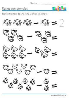 Ficha educativa para aprender a restar. La ficha contiene una serie de restas con animales para que los niños aprendan a restar contando. Además es coloreable. Nursery Worksheets, Writing Worksheets, Kindergarten Worksheets, Math Exercises, Basic Math, Math Stations, Preschool Math, Creative Kids, Games For Kids