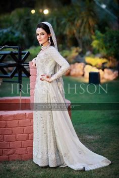 Continuing our color series on bridal clothes, we have a stunning collection for you ahead.  In creams, whites, and beige, these bridal shararas are anything but dull.  And we are so honored to have Mr. Irfan Ahson allow us to feature his work again.