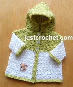 "Free baby crochet pattern newborn hooded coat usa ~ 14"" chest ~ FREE - CROCHET"