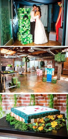 (I like the room decor for a birthday party too!) Minecraft wedding — Oh my goodness, Kyle would just die. Must show him this.