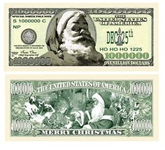 Lot of 25 Cartoon Santa Million Dollar Bill Fun Money Gospel Tract Novelty Notes