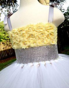 22accf6f62c Items similar to White yellow grey sparkly tutu dress