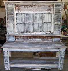 potting  bench...windows  shutters legs   old  tin....  big and heavy