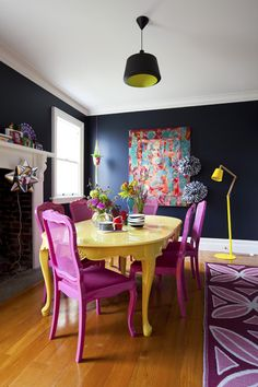 Live Spring in your dining room design, with these glamorous dining room colors. These blue dining room chairs could be replaced by t Dining Room Colors, Dining Room Design, Painted Dinning Room Table, Kitchen Table Redo, Yellow Dining Room, Design Room, Colorful Chairs, Pink Chairs, Colorful Furniture