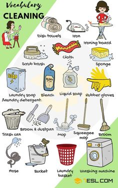 Household Cleaning and Laundry Vocabulary in English Cleaning Supplies! Learn useful list of house cleaning tools and products with examples and pictures to enlarge your vocabulary words in English. Whether you ar English Time, English Course, English Fun, English Study, English Lessons For Kids, British English, English Class, English Vocabulary Words, English Phrases