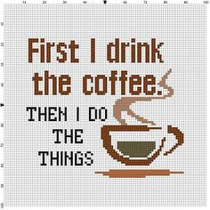 Do you need your coffee? Know someone who does? Would be great in a kitchen, workplace, cubicle, office or as a wedding or housewarming gift for the coffee lover in your life. Modern cross stitch pattern is designed on 14 count Aida. It will run about 7x7 and will look awesome in an 8x10 frame or larger with a matte. This pattern will come with 2 different sized full colour patterns, for printing or viewing convenience, and a handy little tips and tricks printout to help you in your quest…