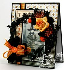 Fabulous Halloween Bingo card uses holiday rope tinsel (it can be gotten for almost all holidays) as an embellishment on this card. I can hardly wait to try this on Christmas cards as well.