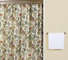 Curtain & Bath Outlet - Jacobean Leaf Excell Fabric Shower Curtain  main level bath?  $14  polyester