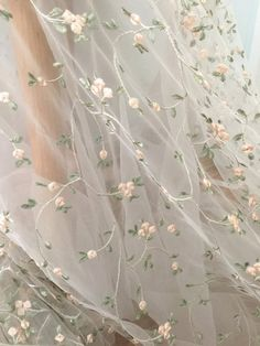 Flroal embroidery tulle lace fabric with light green pink leaf pattern, tulle bridal baby dress lace fabric - Stickerei Ideen White Tulle, Tulle Lace, Lace Fabric, Dress Lace, Floral Fabric, Bridal Fabric, Fabric Roses, Dress Prom, Photowall Ideas