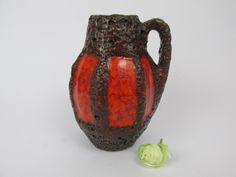 Vintage Keramik Vase von Scheurich / braun, orange / Fat Lava / Modell 414-16 | West German Pottery | 60er von ShabbRockRepublic auf Etsy