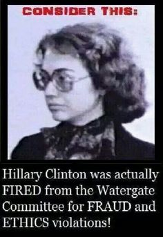 Hillary Clinton Fired For Lies, Unethical Behavior. This was during the Watergate case. Also with the Clinton administration there was the White Water case and many mysterious death was attributed to that case. Meryl Streep, Illuminati, Persona, Crooked Hillary, Islam, Religion, Liberal Logic, Liberal Tears, Humor