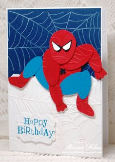 Stamping with Klass: Spectacular Birthday spiderman - Visit to grab an amazing super hero shirt now on sale! Birthday Cards For Boys, Bday Cards, Handmade Birthday Cards, Man Birthday, Handmade Cards, Happy Birthday, Paper Punch Art, Punch Art Cards, Spiderman Cards