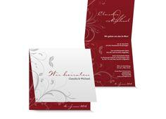 Hochzeitskarte mit Blumen Ornament, schlicht und stilvoll