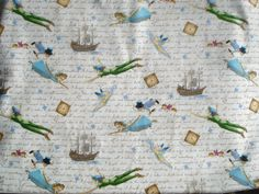 Peter Pan Wendy Disney fabric Thomas Kinkade FQ or by claydeal