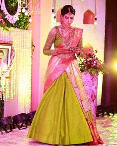Designed a beautiful half saree for this pretty young lady Karunya, .it was a great experience executing… Designed a beautiful half saree for this pretty young lady Karunya, .it was a great experience executing… Lehenga Saree Design, Half Saree Lehenga, Pattu Saree Blouse Designs, Half Saree Designs, Saree Blouse Patterns, Sari, Bridal Blouse Designs, Saree Look, Lehenga Designs