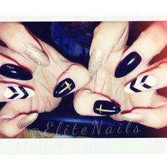 black gold cross nails