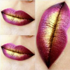 sugarpillmakeup: What a stunning combo! @xtianaland dabbed #Sugarpill Goldilux metallic gold loose eyeshadow over #maccosmetics Violetta lipstick to create this beautiful lip.