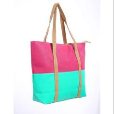 Antje Women Color Block Dual Handles Zippered Top Casual Tote Bags Dark Mint Fuchsia