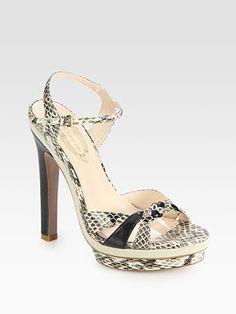Elie Tahari Nellie Snake-Print Leather Sandals