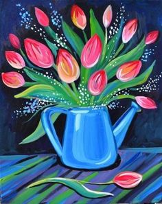 Virtual Event with Justin (eht) - at Virtual Event. (eht), Egg Harbor Township, NJ, US Flower Painting Canvas, Simple Acrylic Paintings, Flower Canvas, Acrylic Art, Flower Art, Canvas Art, Spring Painting, Tree Wall Art, Paint Party