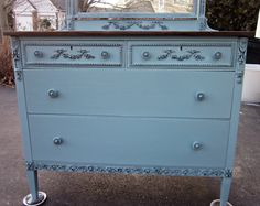 Deep Turquiose Blue Dresser with Mirror by suezcues on Etsy, $430.00