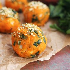 """Kale and sweet potatoes are a great combo! These are the best vegetarian/vegan lovers """"meatball"""""""