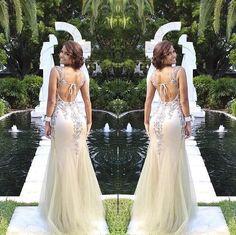 Trumpet/Mermaid Sleeveless Natural Backless Floor-Length Tulle Prom Dresses 2017