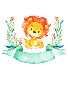 Shop Watercolor Lion Baby Shower Invitation created by SpecialOccasionCards. Safari Party, Safari Theme, Safari Animals, Baby Animals, Cute Drawings, Animal Drawings, Lion Baby Shower, Watercolor Lion, Baby Illustration