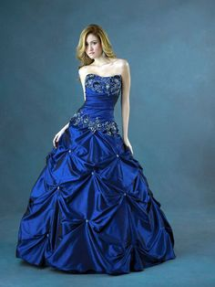 Royal Blue Strapless Embroider Beads Working Taffeta Ball Gown Prom Dress