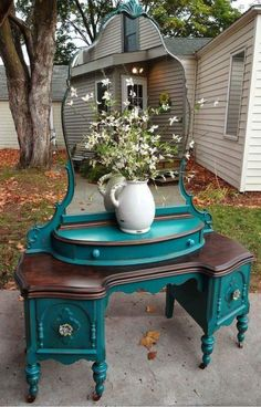 Turquoise refinished vanity. #DIY #furniture #decor #vintage #witchyvibes