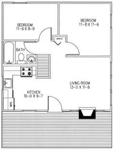 2 Bedroom Cabin House Plans