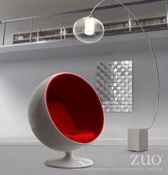 MIB Lounge Chair by Zuo Modern This fun and iconic chair has two plush velour cushions inside a glossy fiberglass shell with a swivel base. Modern Lounge, Modern Chairs, Modern Furniture, Pod Chair, Lounge Chair, Arc Floor Lamps, Modern Floor Lamps, Modern Lighting, Funky Chairs