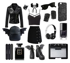 """""""#11 all black everthing"""" by koneko-yagami on Polyvore featuring Iron Fist, Current Mood, Chicwish, Charlotte Russe, Chicnova Fashion, Beats by Dr. Dre, Miss Selfridge, MAC Cosmetics, Chanel and Torrid"""