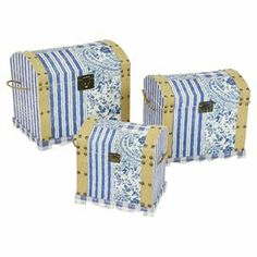 De-clutter your bedroom or lounge with these charming trunks, featuring blue and white contrasting patterns. Perfect in either your country style home or contemporary apartment, they bring a sense of rustic charm to neutral spaces.  Product: Small, medium and large trunkConstruction Material: Engineered wood and fabricColour: Blue and beigeDimensions:  Small: 40 cm H x 39 cm W x 31 cm D  Medium: 47 cm H x 43 cm W x 36 cm D  Large: 55 cm H x 48.5 cm W x 41 cm D