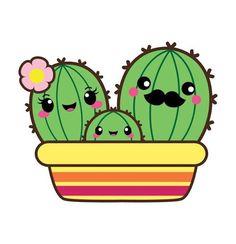 cute stuff online OFF SALE Kawaii cactus Valentine clipart by CockatooDesign… - Kaktus Cactus Drawing, Cactus Painting, Cactus Art, Cactus Plants, Indoor Cactus, Leaves Illustration, Art Deco Illustration, Cute Kawaii Drawings, Kawaii Art
