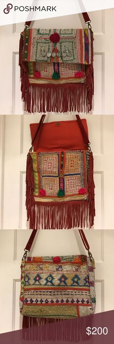"FABulous handmade crossbody bag from India One-of-a-kind boho bag made from multicolored vintage fabrics & suede. Adorned with upcycled colorful tribal antique dresses from India, Afghanistan & Pakistan with brass hardware and a dark red adjustable suede strap (drops 53"") and fringed trim. Snap closure, top inside zipper and one small zippered pocket in the bag. Measures 15"" wide, 11"" high, 2"" deep approximately. Heavily embroidered with silver & gold thread. Any and all seeming…"