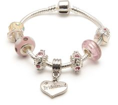 Liberty Charms Bridesmaid 'Vanilla Kisses' Silver Plated Charm/Bead Bracelet. Gift Box and Velvet Pouch. Wedding/Thank You Gift. (Other Sizes Available) >>> Check out this great article. #Bracelets