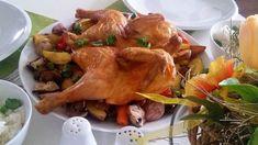 Kuře omyjeme, vyřízneme mu páteř a odstraníme špičky křídel. Obrátíme ho a dlaněmi prudce přitiskneme k podložce. Tím zlomíme prsní kost a můžeme... Turkey, Meat, Chicken, Turkey Country, Cubs